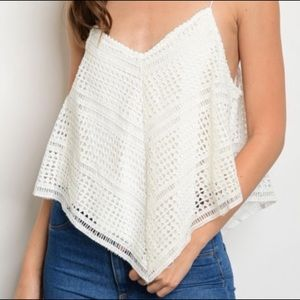 Tops - Ivory Spaghetti Strap Crochet Top with Lining